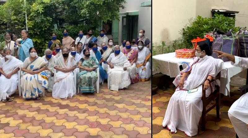 Durga Puja 2021: CM Mamata Banerjee meets old residents of Nabanir after inauguration of pujas | Sangbad Pratidin