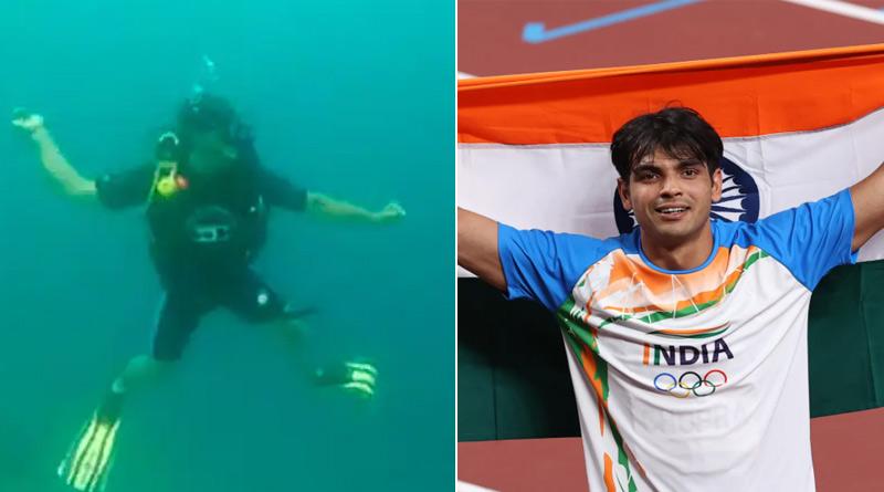 Viral Video: Neeraj Chopra Shadow Practices Javelin Throw Underwater | Sangbad Pratidin