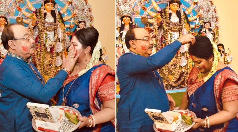Sovon Chatterjee and Baishakhi Banerjee celebrated Sindur Khela on Dashami | Sangbad Pratidin