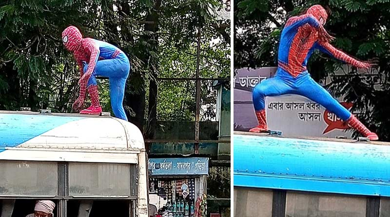 'Spiderman' performs on the roof of a public bus at Durgapur, video goes viral | Sangbad Pratidin